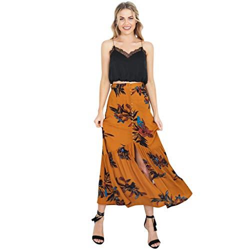 Sylar Faldas Largas Vintage para Mujer Faldas Largas Bohemias Estampado Floral Faldas Largas Mujer Fiesta Elegante con El Botóns