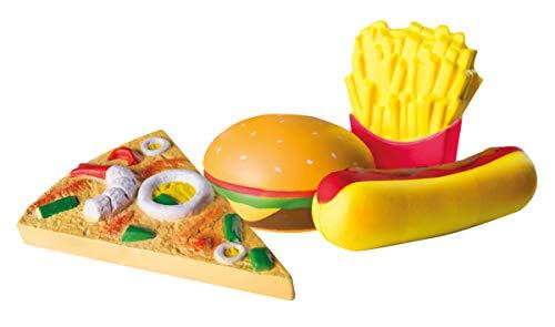"""roba Squishies 4er-Set """"Fast Food"""", Pizza, Hot Dog, Pommes, Burger, Antistress Spielzeug, Kaufladen- und Küchenzubehör, mehrfarbig"""