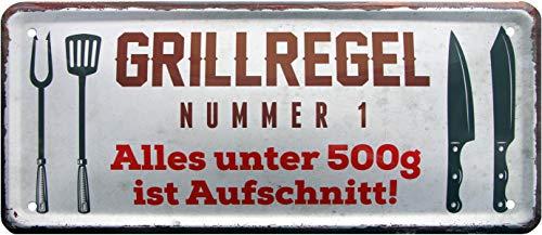 Grill-Regel Nr.1 Alles unter 500g ist Aufschnitt 28x12 Deko Blechschild 1499