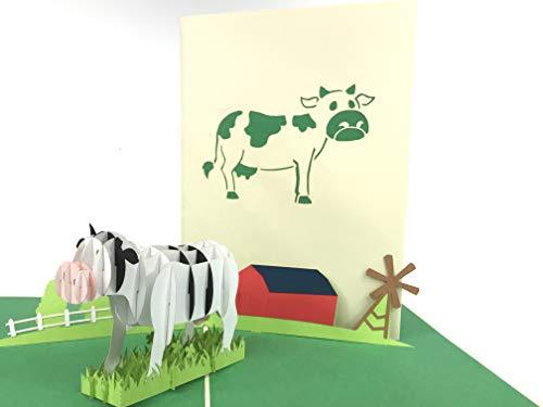 Kuh auf dem Bauernhof 3D Pop up Grußkarte Anniversary Baby Happy Geburtstag Ostern Mutter Thank You Valentine 's Day Hochzeit Kirigami Papier Craft Postkarten