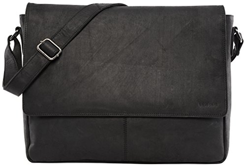 LEABAGS Acapulco Umhängetasche Aktentasche Laptoptasche 15 Zoll aus echtem Leder im Vintage Look - Schwarz