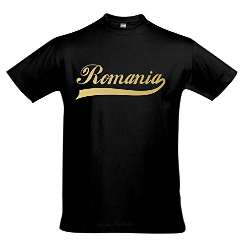 T-Shirt - Romania Oldschool Rumänien LÄNDERSHIRT EM / WM FAN Trikot S-XXL , Deep black - gold , XL