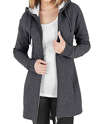 Kidsform Jacke Damen Hoodie Pullover Sweatshirt Kapuzenpullover Sweatjacke Mantel Herbstjacke Outwear DunkelGrau S