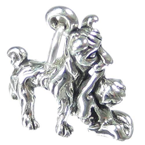 Sac de transport pour chien en forme de petit garçon en argent 925/1000–Breloque chien SSLP4068 pour garçon