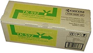 Kyocera 1T02KVAUS0 Model TK-592Y Toner Kit, Yellow, Genuine Kyocera, Compatible with C5250DN/ C2026MFP/ C2126MFP/ C2526MFP/ C2626MFP/ M6026CIDN/ M6526CDN/ M6526CIDN, Up To 5000 Pages Yield