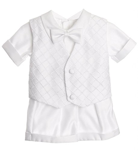 iGirlDress Baby Toddler Boys Christening Short Sleeve Set 3T White