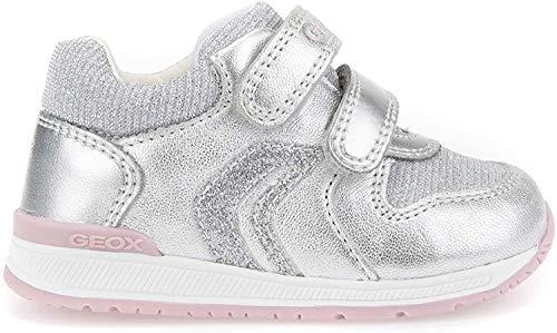 Geox B Rishon B, Sneakers Basses bébé Fille, Argent (Silver), 24 EU