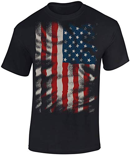 Maglietta: Stars And Stripes Flow Design - Bandiera USA T-Shirt - Maglia Uomo Uomini - Biker Rock Chopper - Stati Uniti d'America - Regalo - Army Camouflage - Stella - United States (M)
