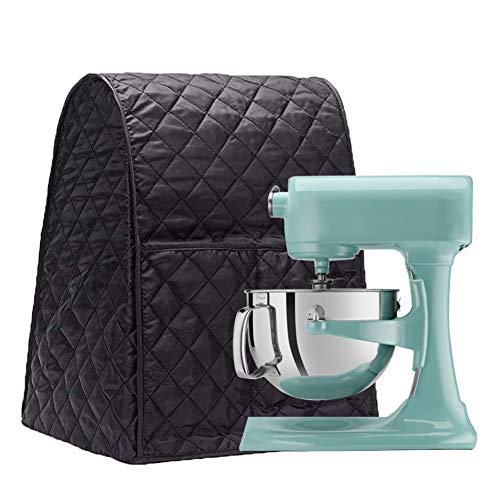 Large Size Stand Mixer Cover, Dustproof 4.5-6 Quart Kitchen Aid Organizer Bag, Mixer Covers Fits All Tilt Head & Bowl Lift Models for Kitchen Aid, Sunbeam, Cuisinart, Hamilton Beach Mixers (Black)