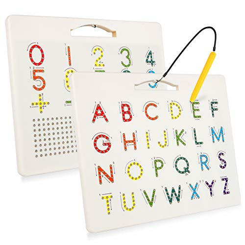 Magnetic Alphabet Tracing Board for Kids, Apfity Magnetic Letter and Number Tracing Board for Toddlers, ABC Magnetic Drawing Board for Children
