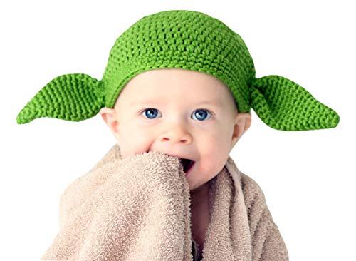 Milk Protein Cotton Yarn Handmade Star Wars Baby Yoda hat Green Goblin hat with Ears - Multiple (0-3 Months)