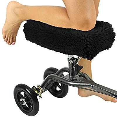 Knee Walker Pad Cover by Vive - Plush Synthetic Faux Sheepskin Sheepette Accessory for Knee Scooter and Roller - Improves Leg Cart Comfort During Injury
