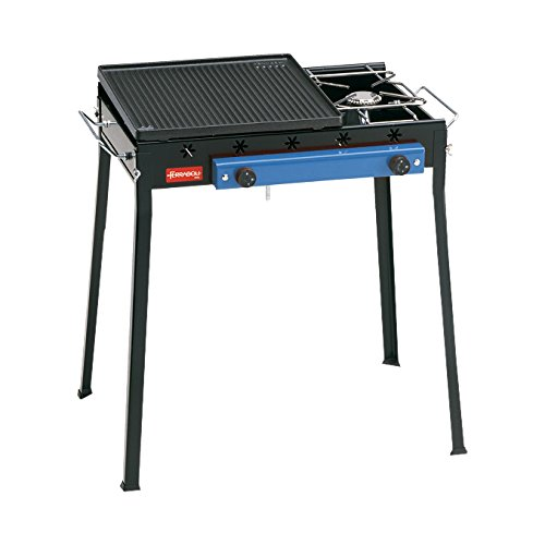 Ferraboli Ghisa Gas Combinato Barbecue Carrello Gas 4900W Nero