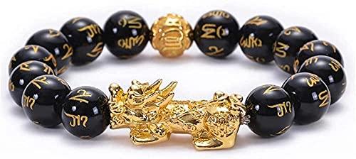 Pulsera china Pulsera hecha a mano Feng Shui Feng Shui Prosperity, pulsera tallada a mano, Yellow Goldpi Xiu / Pi Yao atrae la riqueza y la buena suerte, la pulsera de Stone Feng Shui Elasticidad robu