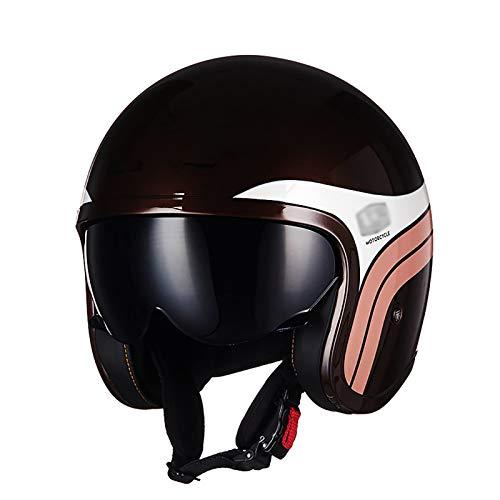 Casco retro de motocicleta para hombres y mujeres DOT/ECE medio casco cubierto cuatro estaciones verano lente interior medio casco chopper scooter casco de motocicleta de cara abierta C,L=54-56CM