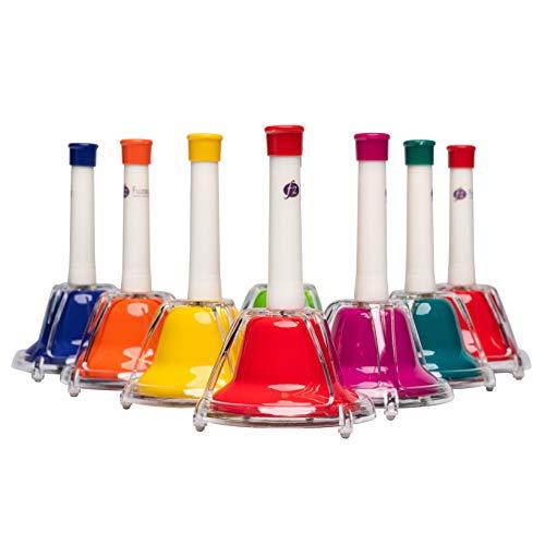 FUZEAU – Juego diatónico de 8 campanas afinadas – Campanas de metal con mangos de plástico – 1 campana = 1 nota – acordadas al más justo – Ideal para descubrir notas, a partir de 3 años