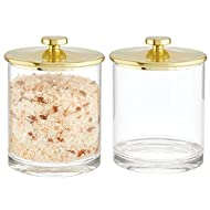 mDesign Plastic Round Bathroom Vanity Countertop Storage Organizer Apothecary Canister Jar for Cotton Swabs, Rounds, Balls, Makeup Sponges, Bath Salts, 2 Pack - Clear/Soft Brass