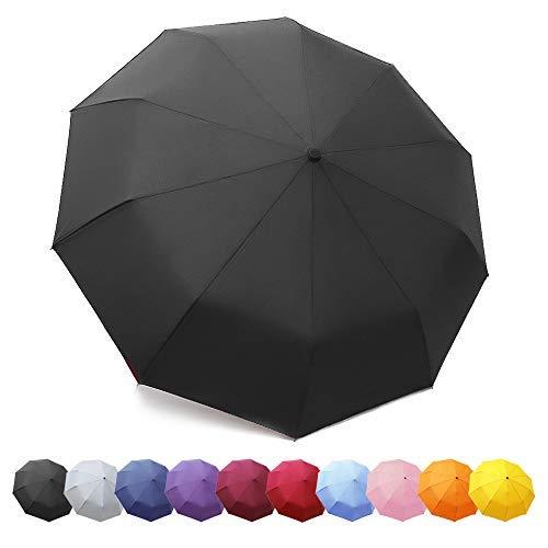 ZOMAKE Regenschirm, Kompakt Taschenschirm mit Auf-Zu-Automatik - Sturmfest bis 140 km/h, Schirm für Klein, Leicht, Windsicher(Schwarz/Neu)