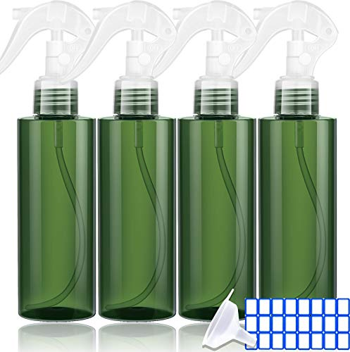 Empty Spray Bottles 7 oz - Spray Bottle For Hair With On-Off Control - UV Protection - For Taming Pets, Hair styling, Watering Plants, Perfumes and Cleaning Products. BPA FREE (4 Pack)