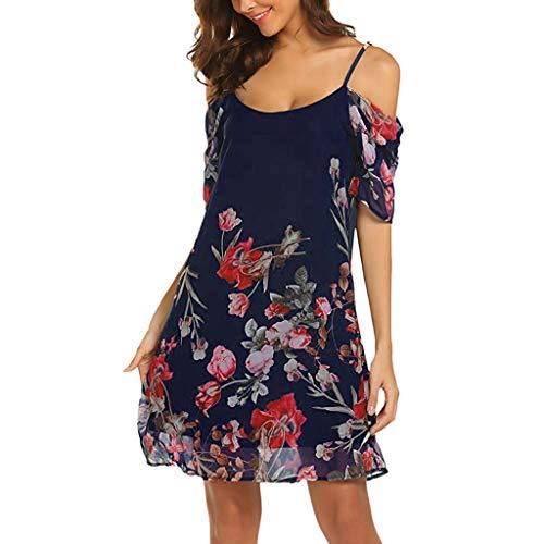 MRULIC Freizeitkleider Damen Mini A-Linie Kleider Elegant Partykleider Chinesisches Klassisches Kleid mit Rosen und Pflaumenblüten(Z11-Dunkelblau,40)