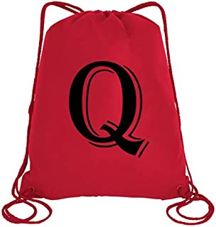 IMPRESS Drawstring Sports Backpack Red with Algerian Letter Q