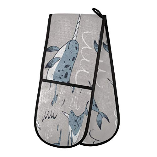 Cute Cartoon Naive Sea Creature Narwhal Guantes resistentes al calor para parrilla Guantes de barbacoa de algodón de poliéster 35 x 7 pulgadas Guantes de barbacoa resistentes al calor y lavables a má