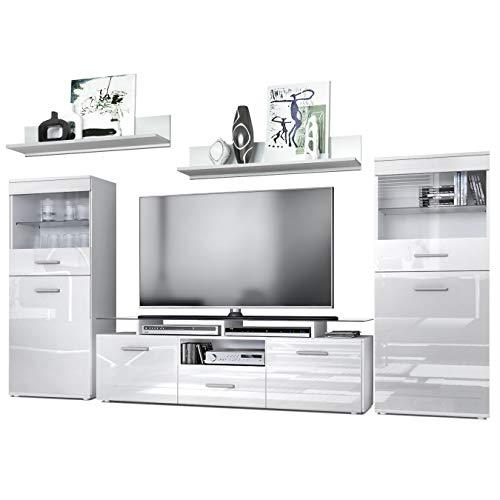 Vladon Wohnzimmer Wohnwand Anbauwand Schrankwand Almada, Korpus in Weiß matt/Front in Weiß Hochglanz