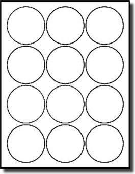 """1,200 Label Outfitters Round, White, 2-1/2"""" Diameter Laser and Inkjet Labels, 100 Sheets"""