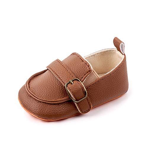 Ortego Braun Baby Schuhe Junge 6-12 Monate Babyschuhe Kleinkind Mokassin Anti-Rutsch Weiche Sohle Flach
