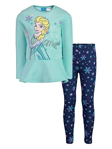 Disney Frozen Elsa Little Girls Long Sleeve Fleece Peplum T-Shirt Leggings Set Blue 7