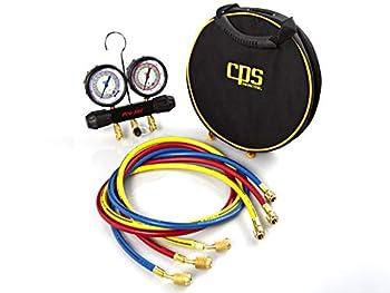 CPS Pro-Set MT2H7P5 2 Valve Manifold R-134a 22 404A 410A Gauges & 5  Premium Hoses