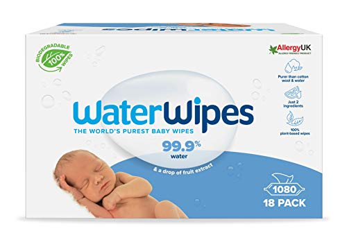 WaterWipes Toallitas de bebé (18 x 60 unidades), las toallitas húmedas más puras para pieles suaves de bebé, toallitas limpiadoras compostables 100% de origen vegetal – 1080 toallitas