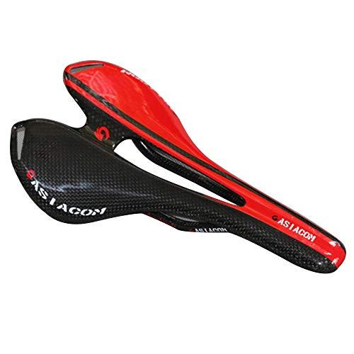 AILOVA Sella Bici Da Strada Mountain Bike Sella Piena In Fibra di Carbonio Cuscino Sella Bicicletta Professionale Modello 3K (Nero Rosso)