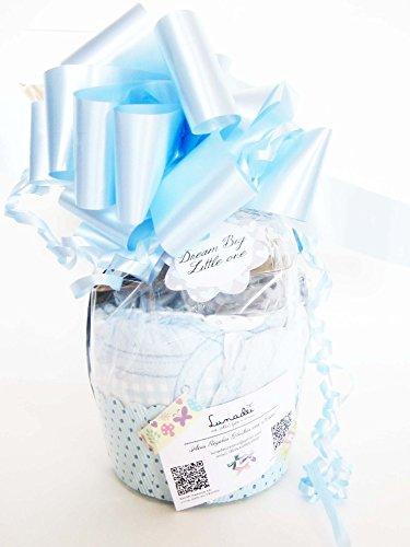 Maxi-Muffin di Pannolini con Ciuccio SUAVINEX | Baby Shower Gift Idea | Pensiero per Nascita o Battesimo personalizzabile con il nome del Bebé | Colore Azzurro, Versione per Maschietti