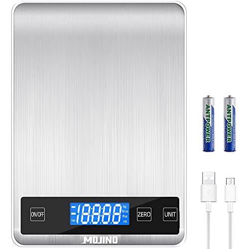 MOJINO - Báscula de cocina digital de 35 libras, 5 unidades, 1 g/0.1 oz/1 ml, escala de cocción de café de acero inoxidable con pantalla LCD retroiluminada
