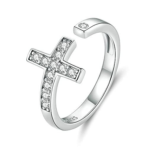 Anillo abierto de plata de ley 925, anillos de dedo cruzados brillantes para mujer, anillo de boda, regalo de joyería para niñas de compromiso