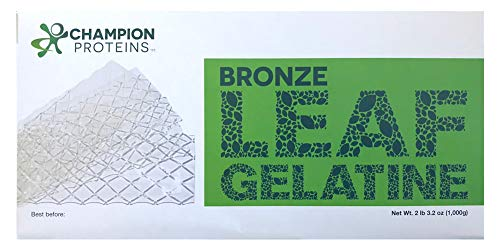 Bronze Leaf Gelatin Sheets, 300 Sheets, 150 Bloom, Champion Leaf Gelatine, 1/KG (2.2/Lbs)