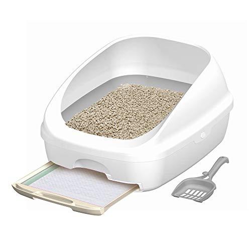 【Amazon.co.jp限定】 デオトイレ 猫用トイレ本体 ハーフカバー本体セット AZ シルキーホワイト 猫用