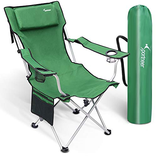 Sportneer Oversized Camping Folding Chair, Adjustable Back Reclining Camp Chairs with Cup Holders, Pillow and armrests, Heavy Duty 350lbs Capacity for Camping, Hiking, Picnic, Fishing, Tailgating