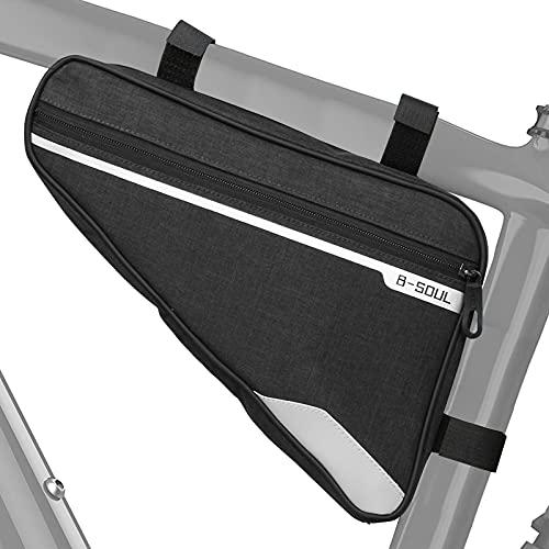 Borsa per telaio a triangolo per bicicletta, Borsa per manubrio da bicicletta riflettente impermeabile Borsa per tubo da bicicletta per contanti del telefono, strumento di riparazione (1.5L)
