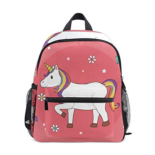 Pink Unicorn Art Toddler Backpack Bookbag Mini Shoulder Bag for 1-6 Years Travel Boys Girls Kids with Chest Strap Clip Whistle