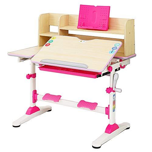 Style home Kinderschreibtisch höhenverstellbar neigbar, Schreibtisch für Kinder Schülerschreibtisch mit Bücherregal und Schublade, B/T/H: 95,9 x 53 x 84-109 cm (Rosa)
