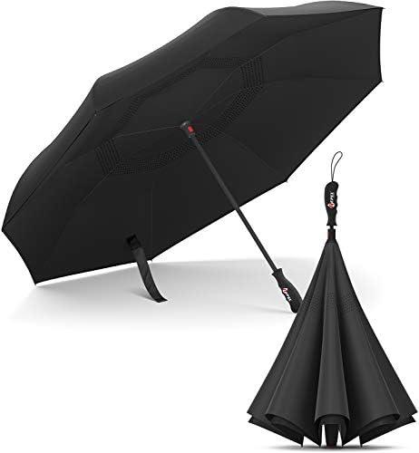 Reverse Umbrella - Inverted Umbrella - Upside Down Design - Teflon Canopy - Windproof Fiberglass Ribs