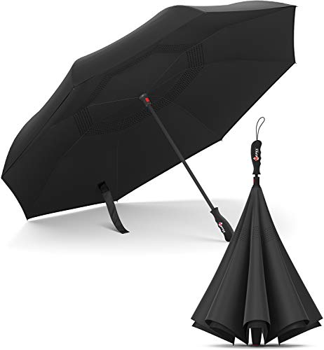 Repel Umbrella Inverted Umbrella, Upside Down Reverse Umbrella with 2 Layered Teflon Canopy and Reinforced Fiberglass Ribs (Black)