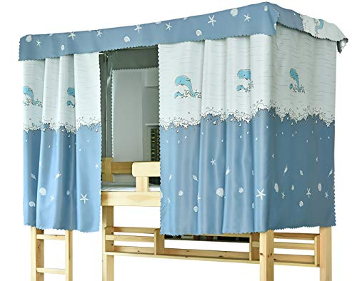Teanea Cute Bottom Bunk Bed Curtains Blackout Cloth Privacy Cloth for Boys Girls, 1 Panel, Dolphin 1