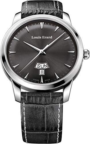 Louis Erard Heritage svizzero al quarzo quadrante grigio Orologio da uomo...
