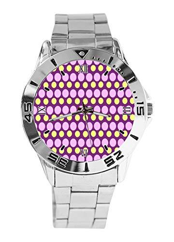 Reloj de Pulsera analógico de Acero Inoxidable con Lunares morados y Resistente al Agua para Hombre, Esfera de Moda, Estilo Casual Deportivo de Negocios