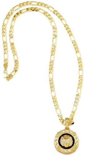 GWOOD Egyptian Necklace Gold and Black Color Pendant with 24 Inch Long Figaro Chain