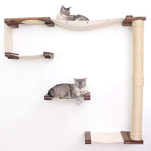 CatastrophiCreations Cat Mod Climb Track Handcrafted Wall Mounted Cat Tree Shelves, English Chestnut/Natural, One Size