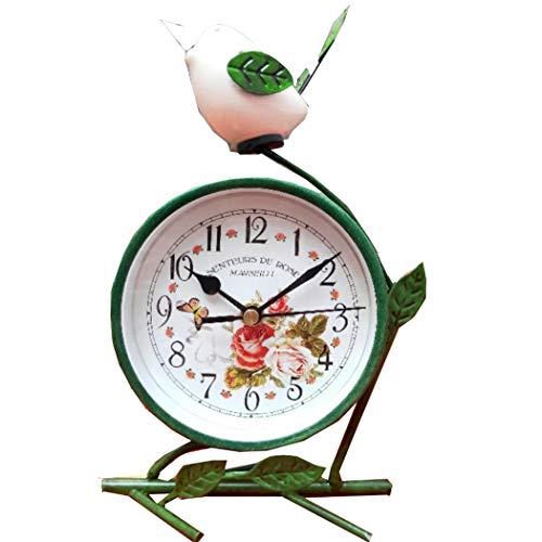 S.W.H Silencioso Pastoral Reloj de Mesa Decorativo con Flores y Mariposa Diseño para Salon Dormitorio Casa, Verde